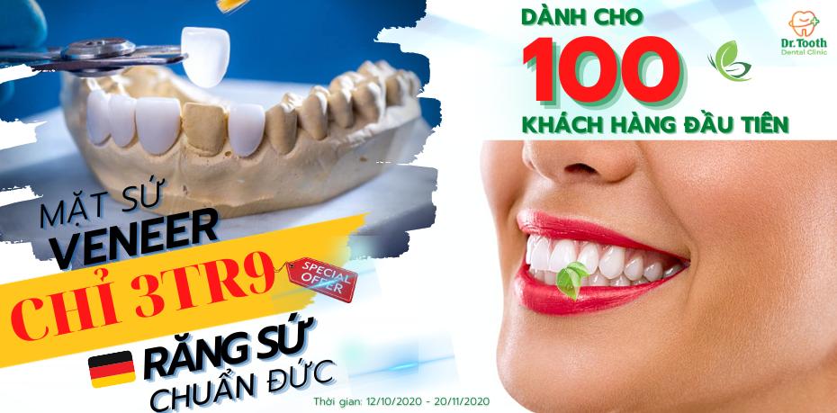 """Siêu ưu đãi ĐỒNG GIÁ """"3triệu9"""" răng toàn sứ"""
